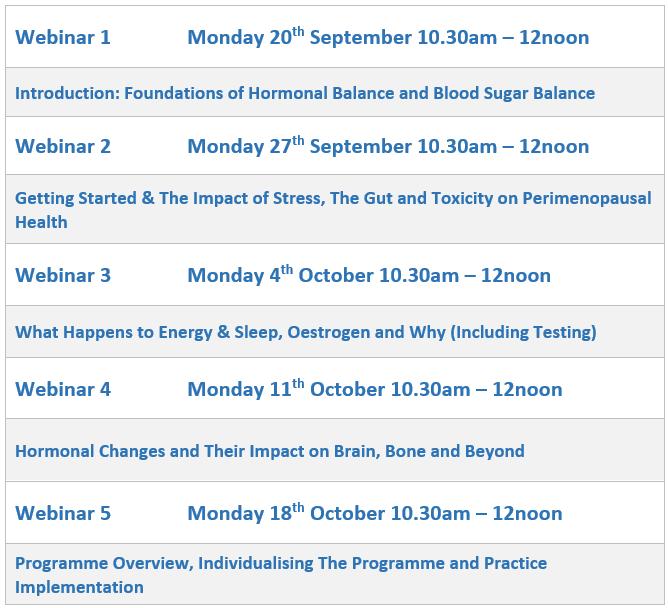 Perimenopause Programme 2021 Webinar Schedule